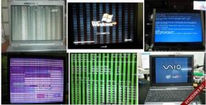 + Laptop Dell báo tiếng bíp bíp bíp liên tục khi khởi động , màn hình không lên hoặc vẫn lên hình. + Laptop  bị treo logo ở màn hình , hoặc máy tính đang chạy chương trình bị treo,đứng  máy , phải nhấn nút nguồn mới tắt được máy, hoặc tắt máy đột ngột  +Laptop mở nguồn lúc lên hình ,có khi không lên hình. +Macbook bị treo táo ,trắng màn hình ,không vào HĐH được ,drum màn hình xanh , xọc rác hình. + Laptop đang chạy bị drum xanh màn hình ,khởi động lại máy chạy hoạt động bình thường,sau thời gian trình trạng drum xanh lại tiếp tục. + Máy thường chạy được 2h đến 3h và các ứng dụng nặng đồ họa thì tự động tắt ngang màn hình hoặc tắt nguồn luôn, bật nguồn lên máy tiếp tục chạy nhưng thời gian tắt sẽ nhanh hơn. + Laptop bị xọc ,rác màn hình, bị xọc caro màn hình,chia thành nhiều màn hình nhỏ hoặc nhòe hình , trắng màn hình,hiện nhiều màu ,hoặc thiếu màu ,thiếu tín hiệu hình ảnh . +Máy chạy bình thường nhưng không có tín hiệu lên màn hình, mọi tín hiệu đèn báo như đèn power; đèn charging,đèn HDD Led vẫn hiển thị, bật capsLock đèn vẫn sáng, cắm màn hình LCD ngoài vào qua cổng kết nối vga out port chạy bình thường. +Laptop hay bị treo,đứng máy khi đang dùng , cài driver vga bị tắt hoặc drum xanh , không nhân driver card màn hình. +Laptop chơi game bị giật màn hình ,cảm giác chơi game bị lắc hình,treo hình,xem phim HD bị tắt hình.