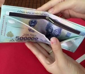 Bóp da nam in hình tiền 500K
