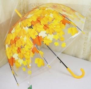 Ô dù trong suốt hoa văn 3d màu vàng