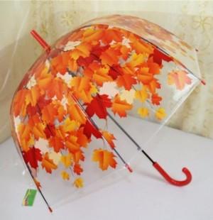 Ô dù trong suốt hoa văn 3d màu đỏ