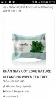 Khăn Giấy Uớt Love Nature Cleansing Wipes Tea...