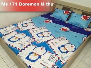 Bộ ga kèm 2 vỏ gối doremon lá thư m6