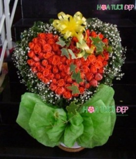 Bó hồng cam hình trái tim - TY040