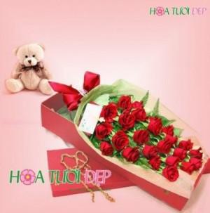 Hộp hoa gấu bông - TY050