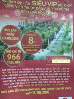 Sunland Mở Bán Đảo Vip Hòa Xuân, Cách Metro...