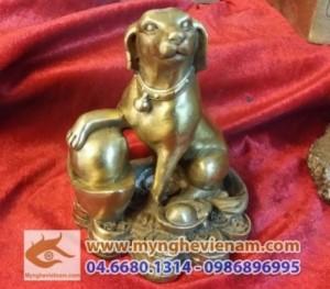 Tượng Con Chó đồng ngồi tiền đúc bằng đồng vàng cao 15cm - Bộ quà tặng 12 con giáp