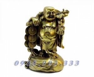Tượng Phật Di Lạc gánh tiền 25cm đồng vàng