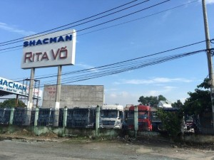 Hàng mới về bán xe shacman ben 4 chân thùng 6m đáy dày 7mm.