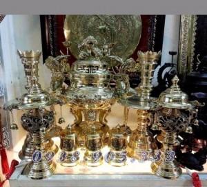 Đỉnh đồng thờ cúng cao cấp 70cm, đồ thờ làng nghề đánh vàng bóng