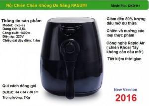 Nguyên tắc hoạt động và Đặc Điểm nổi bật của nồi chiên không dầu KASUMI - Sử dụng công nghệ Rapid Air tận dụng tối đa không khí đối lưu trong và ngoài lòng nồi với tốc độ cao để chiên nướng thực phẩm nhanh gấp 2 lần so với loại thông thường.