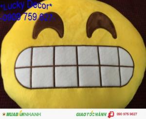 Gối icon mặt cười thêu vi tính hàng loại 1 đẹp lung linh.