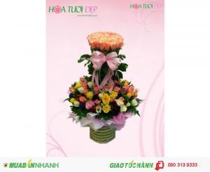 Giỏ Hoa Hồng Phấn  - Thơ Ngây GSN017
