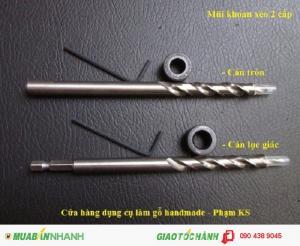Bộ mũi khoan xéo 2 cấp: dùng trong lúc khoan tạo lỗ xiên ghép gỗ bằng vít.  Dụng cụ làm mộc DIY handmade chuyên dụng.
