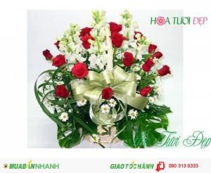 Giỏ Hoa Hồng & Lan Đẹp Giá Rẻ  - CM025
