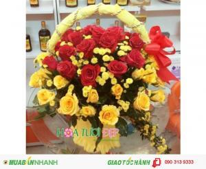 Giỏ Hoa Hồng Chúc Mừng Đẹp Giá Rẻ - CM118