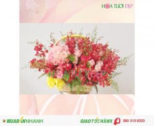 Giỏ Hoa Chúc Mừng Kiêu Sa - CM088