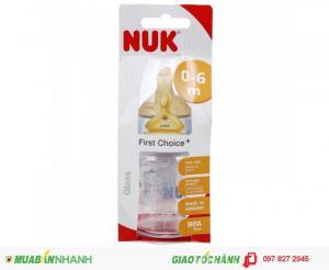 Bình Sữa Thủy Tinh Cổ Rộng Núm Cao Su Siêu Mềm 120ML NUK