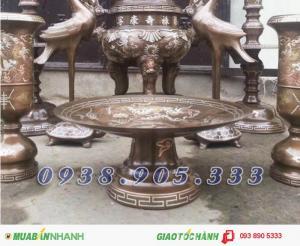 Mâm bồng, ĐK 35cm, mâm ngũ quả, mâm bồng Long Phượng, mâm bày bàn thờ, mâm đồng