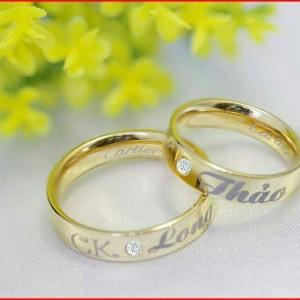 Nhẫn cặp inox mạ vàng khắc tên theo yêu cầu