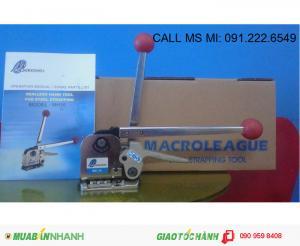 Máy đóng đai thép 16mm, 19mm 3 in 1 (Căng- Bấm- Cắt) không dùng bọ sắt Macroleague MH35