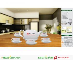 In ấn gốm sứ tại Đà Nẵng, Gốm sứ in ấn, Bộ Ấm trà in ấn logo, In logo lên bộ ấm trà tại Đà Nẵng