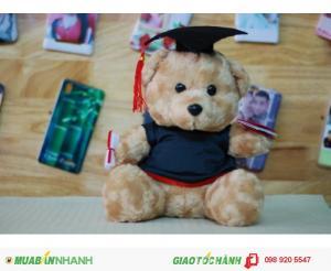 Gấu bông tốt nghiệp lông xù 30cm màu nâu