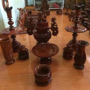 Bộ đồ cúng 9 món gỗ hương