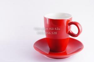 Cốc cafe latte men đỏ mờ sứ Bát Tràng