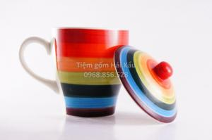 Cốc trà - cafe bảy sắc có nắp sứ Bát Tràng