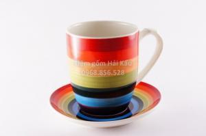 Cốc trà - cafe bảy sắc quai bầu sứ Bát Tràng
