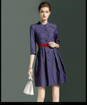 Váy chấm bi đỏ, kiểu cách đơn giản, nhẹ nhàng, phù hợp đi chơi và đi làm, sản phẩm may gia công cho shop thời trang