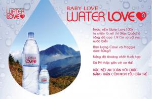 Chính vì điều đó,  mỗi chai nước mang biểu tượng trái tim Water Love mà Tập đoàn bơ sữa Namyang dành cho bé yêu của bạn như là một món quà đầy ý nghĩa.  Nước khoáng thiên thiên Water Love lấy trực tiếp từ tầng đá có độ cao 1915m của ngọn núi mát lành Jiri - Hàn Quốc, Water Love được Hiệp hội Thực phẩm Dược phẩm Hoa Kỳ - U.S FDA và Hiệp hội Nước đóng chai Quốc tế - IBWA cấp giấy chứng nhận là loại nước mềm chỉ chứa hàm lượng 28-35mg/L các khoáng chất tự nhiên, an toàn với mọi lứa tuổi, đặc biệt là trẻ nhỏ. Thật tuyệt vời nếu bạn dùng nước mềm 100% thiên nhiên pha sữa cho con yêu của mình!  Sản phẩm độc quyền duy nhất trên thị trường hiện nay, nhanh tay mang về cho con yêu của bạn món quà ý nghĩa này bạn nhé!