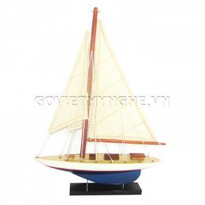 Mô Hình Du Thuyền 1 Cột Buồm 20cm (Trắng/Xanh)