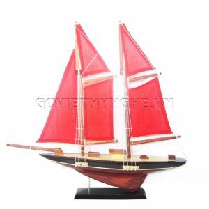 Mô Hình Du Thuyền 2 Cột Buồm 30cm (Đỏ)