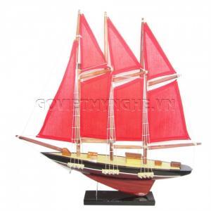 Mô Hình Du Thuyền 3 Cột Buồm 30cm (Đỏ)