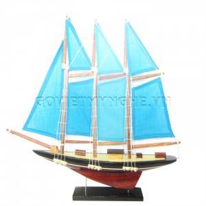 Mô Hình Du Thuyền 3 Cột Buồm 30cm (Xanh)