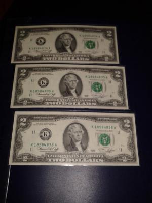 2 tờ 2 dola usd mỹ xưa năm 1976 mới đẹp
