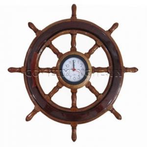 Vô lăng tàu gỗ trang trí đồng hồ Ø 40cm(Gỗ Tự...