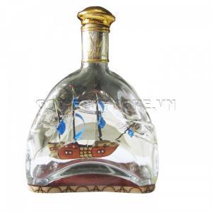 Mô hình Thuyền trong chai Martell X.O thủy tinh N3