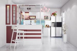 Tủ bếp màu Cherry và màu White sang trọng