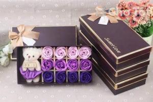 Quà tặng 12 hoa hồng kèm gấu bông