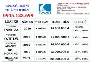 Bảng giá cho thuê xe tự lái theo tháng giá rẻ nhất TP HCM