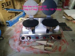 Máy làm vỏ ốc quế, máy làm vỏ ốc quế bán tự động, máy làm vỏ ốc quế 2 bếp