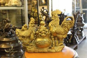 Quà tết - Tượng gà chầu hũ tiền dài 37cm