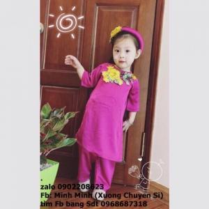 Set bộ áo dài cách tân thiêu hoa dành cho bé...