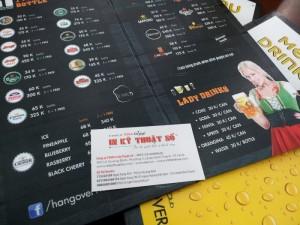 In menu cho quán beer hơi, quán ăn | In PP cán format hay PP bồi format | Loại hình: menu gấp đôi, in full mặt | Gia công: cán format, PP cán màng mờ chống thấm nước