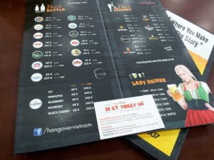 In menu PP cán format cho quán beer tại TPHCM | Loại hình menu gấp đôi, in PP cán màng mờ