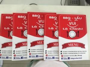 In menu gấp đôi cho quán BBQ - Lẩu | Loại hình in: in PP cán format