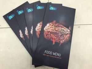 In menu cho quán iBeer - Menu PP cán format, PP in mực nước, cán màng mờ, bồi format | Loại: menu gấp 2, in full 4 mặt