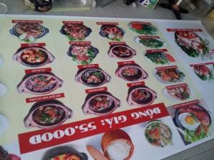 In menu áp tường hình ảnh món ăn ngon, thu hút cho quán có diện tích rộng, đông khách | Loại hình in: PP cán format, in PP mực nước, cán màng mờ
